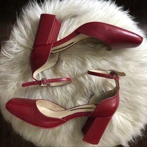 Zara Leather Block Heels, Size 36